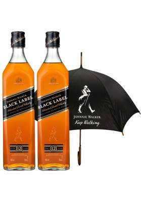 Johnnie Walker Black Label Umbrella Gift Set 2 x 70cl